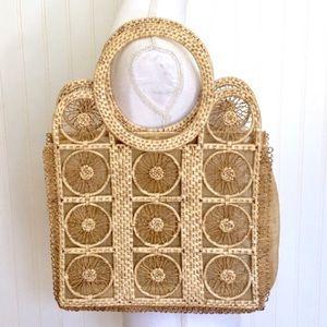 Vintage woven straw and burlap shoulder bag tote